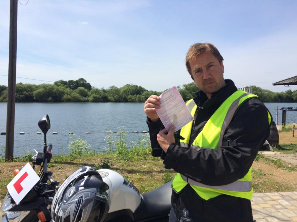 Rob MacDonald passes Module 1 at Farnboroygh today with Motorcycle training in Surrey