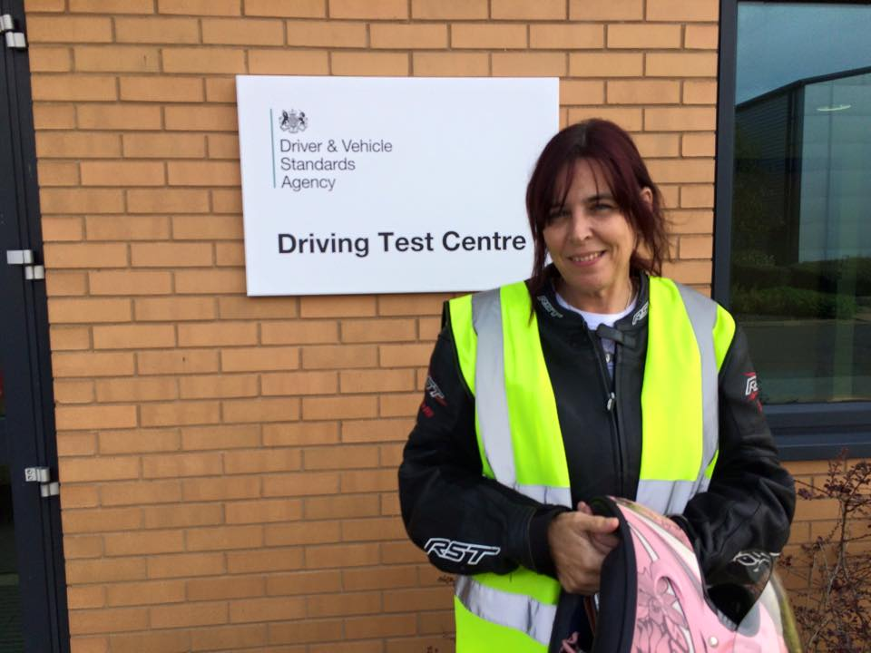 Sally Prince passes Module 2 at Farnborough with Motorcycle Training in Surrey following the DAS course with one to one instruction Safe riding Sally