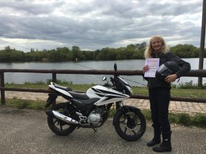Caroline Shotton passes CBT at Staines with Motorcycle Training in Surrey