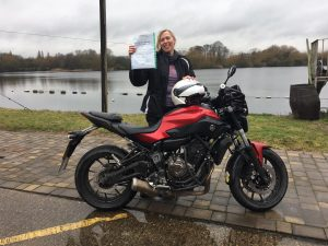 Sara Gilmour passes Module 2 at Uxbridge with Motorcycle Training in Surrey